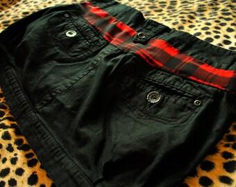 Punk Rock Skirt, Black Skirt, Handmade Cloth, Woman's Clothing, Gothic Skirt, Skinhead cloth, Tartan Plaid Skirt, Steam Punk Skirt