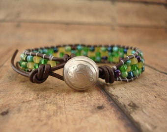 Drangonfly Leather Wrap Bracelet