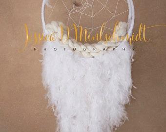 NEWBORN DIGITAL BACKDROP: White Dreamcatcher with Textured Background