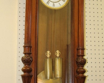 4FT Tall Carved Walnut Gustav Becker Vienna Regulator Wall Clock C1890s