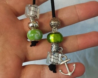 choker necklace green balls and boat anchor