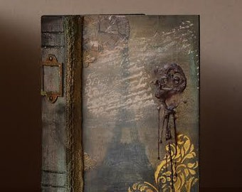 Book storage Box Small - Decorated - Gift - Eiffel Tower - Vintage - Wooden
