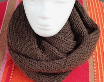 Double Thickness Knitted Browne  Infinity Scarf - Soft and Thick, and Comfortable   one size