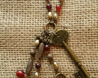 Heart Skeleton Key Necklace with Beads