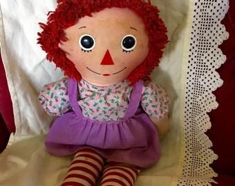 Vintage Knickerbocker Raggedy Anne 15 inches cloth Doll