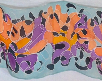 "8""x54"" Hand Painted Habotai Silk Scarf"
