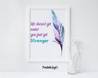 Life doesn't get easier you just get stronger Inspirational Printable Instant Download 8 x 10 Motivational Quote