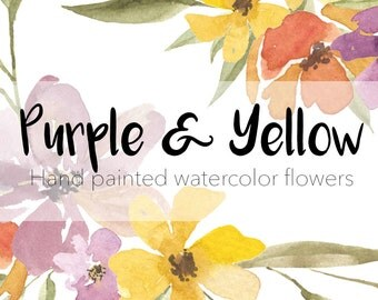 Purple and Yellow Hand Painted Flowers