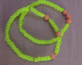 Neon Pink/Yellow Bracelet set
