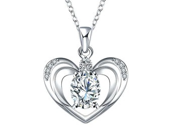 Silver Plated Heart in Heart Necklace