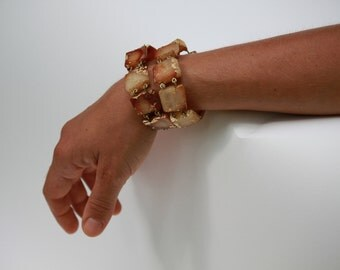 Faux amber fimo, gold leaf, and brass bracelet