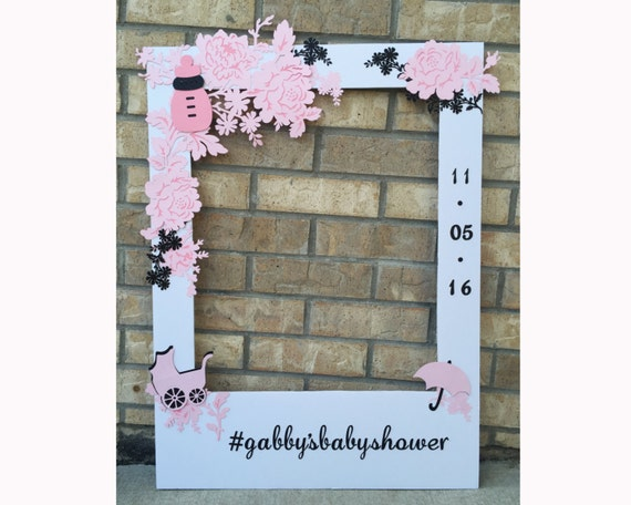 Baby shower giant photo booth frame prop floral with glitter