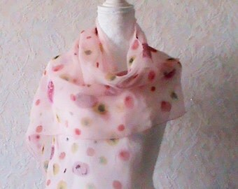 Silk scarf,Handpainted silk scarf,green  and pink ,silk  scarves