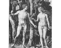 Digital Download - Religious Art Adam and Eve Engraving Albrecht Durer Antique Woodcuts Fall of Man Instant Download