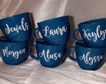 Name Coffee Mug. Personalized Coffee Cup. Gifts for her. Wedding Gift. Bridesmaid Gift. VINYL.