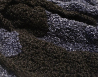 Crocheted Scarf-Black and Blue