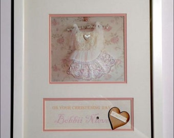 Christening girl keepsake personalised frame