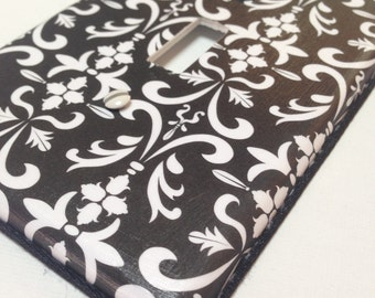 Black Damask Light Switch / Wallplate Cover