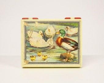 Retro animals blocks box-cube puzzle-Vintage toys