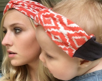 Tribal matching headband for mommy and baby- orange