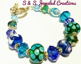 Multi-colored Lampwork Beaded  Bracelet - Green, Blue, Turquoise