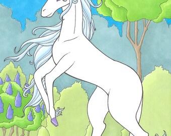 The Last / Unicorn, Storybook Style, Print / 4x6 matte print