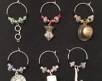 Steam punk wine glass charms