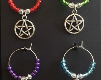 Pentagram wine glass charms