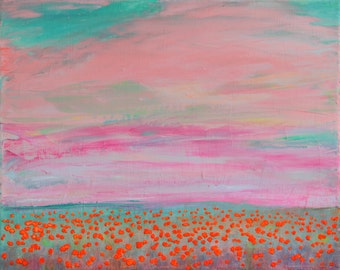 Bright Flowers Field. Original Acrylic Painting. Free Shipping