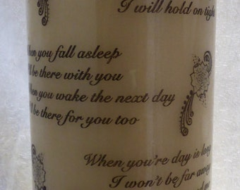 8 Inch - Personalised Candle I Promise You With All My Might Poem & Flowers
