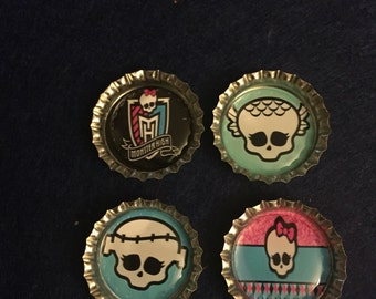 Monster High Bottle Cap Magnets - Set of 4