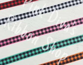 3/8 Black Plaid Ribbon - US Designer Ribbon - Plaid Ribbon - Fall Ribbon