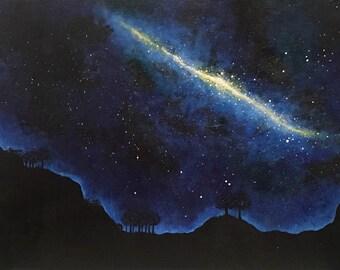 Night Sky: Original Acrylic Night Sky Landscape Painting