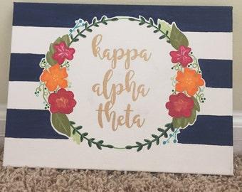Floral Kappa Alpha Theta Canvas
