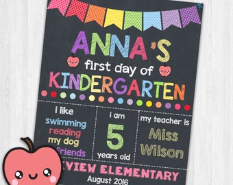 First Day of Kindergarten Printable Signs Back to School Sign Photoprop School Signs