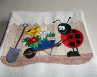 Embroidered, Flour Sack Towel, Lady Bug Towel, Ladybug & Wheelbarrow, Absorbent, White Cotton, Gift