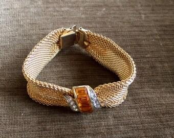 lovely vintage 1950s gold mesh rhinestone bracelet