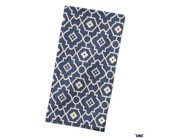 Geometric Napkin | Dinner Napkins | Cloth Napkins | Blue Table Linen | Table Napkins | Geometric Decor