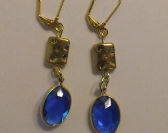 Sapphire Blue Crystal Drop Gold Earrings