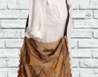 Linen Bag Boho Chic - Mother's Day - Hand Made Bag / Shoulder Bag - Linen Crochet Bag - Women Crossbody Bag - Gift for her - Handmade
