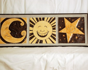 Moon, Sun, and Star Tile Tryptich