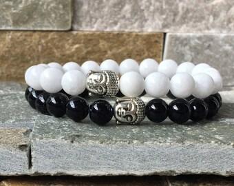 Bracelet set partner bracelets mala Buddha Bracelet 8mm jade harmony