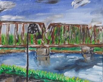 Art Print of Oil painting - Phoenix Park Walking Bridge - Eau Claire, WI Landmark