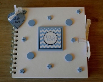 Handmade Personalised 'Its a Boy' Scrapbook / Photo Album / Gift. Size 8 x 8""