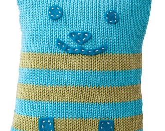 Hand Made Knitted Kitty Toy - Turquoise
