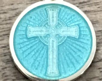 Cross Pendant Sterling Silver 925 CUSTOM Glass Enameled light blue
