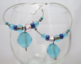 beaded hoop earrings, light blue