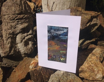 Original Abstract 'mountain scene' mounted as a greeting card
