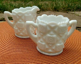 Milk Glass cream and sugar set.