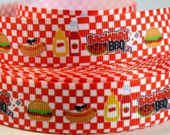 "7/8"" Backyard BBQ Printed Grosgrain Ribbon"